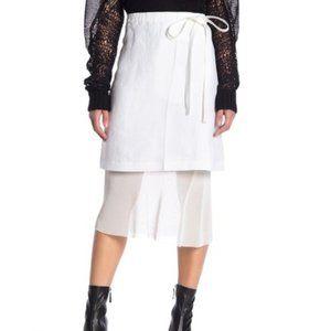 NEW Helmut Lang Ruched Waist Linen Mesh Skirt